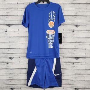 🆕️ Nike | Blue Dri-Fit Basketball Tee & Short Set